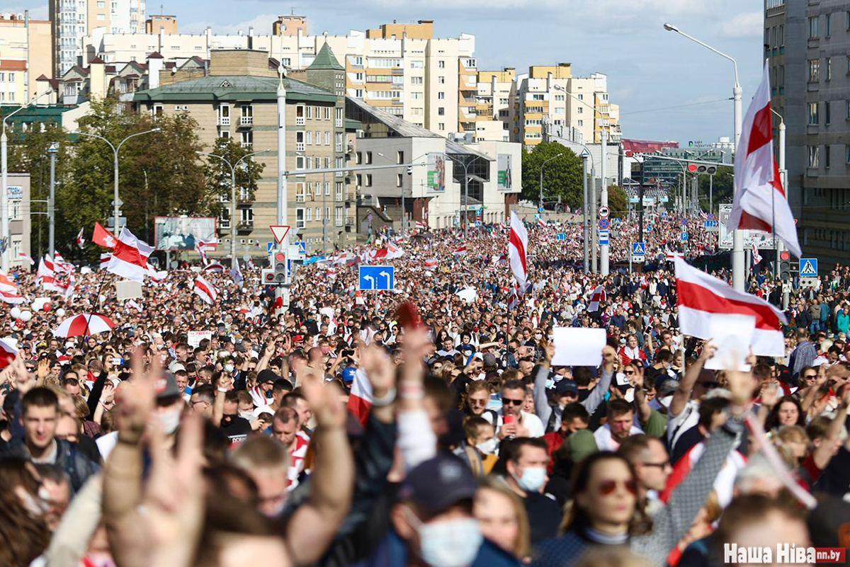 Демонстрация против насилия в Минске